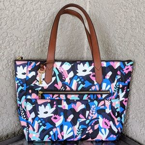 FOSSIL Fiona Tote Bag Black Multicolor Floral